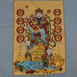 Wholesale Brocade Cloth Painting Silk Embroidery Thangka Machine Embroidery God of Wealth