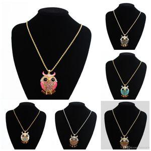Collares bonitos Colgantes Encantos de la marca Mujeres Collar de oro de 18 quilates Cristal de época Cubic Zircon Diamante Joyería fina Búho Collares pendientes