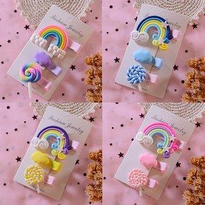 3PCS Set Rainbow Lollipop Cute Cloud Hair Clips Bobby Pin Cartoon Hairpins Girl Children Korean Sweet Hair Accessories