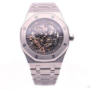 좋은 시계 제한 더블 밸런스 휠 Openworked 시계 스테인레스 스틸 블랙 다이얼 15407 시계 41mm 망 손목 시계