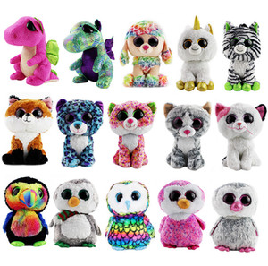 22-25cm Big Eyes Dog Fox Owl Penguin White Unicorn zebra colorful Cat Plush toys cute Animal Doll Christmas gifts for children Y200703