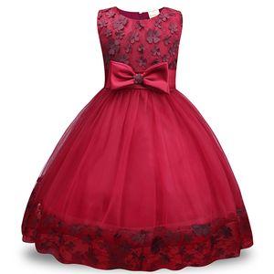 Sleeveless di colore solido acrilico Bambino Abito versione coreana della maglia del merletto del vestito dalla ragazza dell'arco del raso Girl Dress Skirt