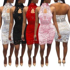 fashion lace lace dress women Sleeveless Leak back Hanging neck sexy dress 2019 summer woman clothing club Party dress Vestidos