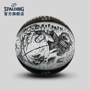 Новый Spalding черный белый Эскиз баскетбол 83-534Y размер 7 Открытый износостойкие резиновые игры баскетбольный мяч Street Basketball