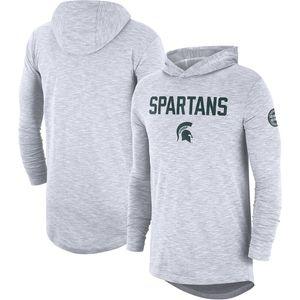 Erkekler NCAA Michigan State Spartans Gömlek Yeşil beyaz 2019 Sideline Uzun Kol Kapşonlu Performans Üst T-shirt gri