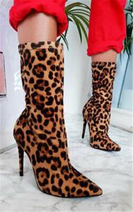 Vender Hot Novas mulheres Mid-barril botas mulheres de grande porte estilete elásticas estampa de leopardo salto alto botas altas sapatos pontudos