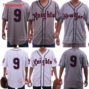 Roy Hobbs O Natural # 9 Knights Redford Branco Cinza Baseball Jerseys Frete Grátis S-3XL Artigos em estoque