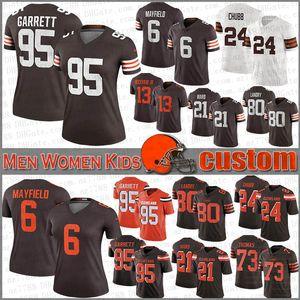 6 Baker Mayfield Cleveland Custom Bay Bayan Çocuk Futbol Formalar Brown 80 Jarvis Landry 21 Denzel Ward 95 Myles Garrett 13 Odell Beckham Jr