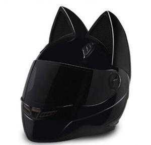 2018 casco da motociclista con orecchie da gatto personalità casco integrale per capelli 4 Colore rosa giallo