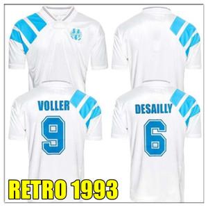 Retro 1993 Olympique Marseille Fußball-Hemd DESCHAMPS PAPIN BOLI DESAILLY Fußball Jersey LOPEZ THAUVIN VOLLER HOT PAYET L.GUSTAVO THAUVIN