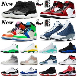 Zapatos Nike Air Jordan Retro JUMPMAN Basketball LOW WMNS CONCORD 11 11s Shoes New Playground 13 Flint 13s Womens Mens 1 Fearless 1s Travis Scott 2019 Bred High Sneakers