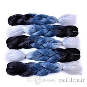 Jumbo Braiding Hair (Black Grey Blue Silver Grey) Jumbo Braid Hair Extension 24&quot Synthetic Hair Ombre Colors