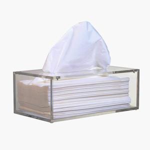 Facial Tissue Acrílico Box, Tissue Holder, Tissue Dispenser com Magnetic Tampa T200115