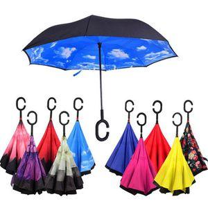 Çift katman katlama karşıtı şemsiye rüzgar geçirmez son yüksek kalite ve düşük fiyat şemsiye kendini geri yağmur geçirmez C tipi kanca elini ters