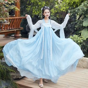 Hanfu traje estilo chino Hada Ropa antiguos china antigua y Ropa Tradicional Folk Dance Performance vestuario DQL734