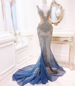 2020 Arabic Aso Ebi Sparkly Luxurious Sexy Evening Dresses Beaded Crystals Prom Dresses Mermaid Formal Party Second Reception Gowns ZJ226