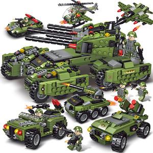 710PCS Tanque Building Blocks helicóptero Veículos Aeronaves Boy Toys Figuras Blocos educacionais militares Bricks LegoED suportados