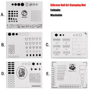 1 unids Nail Art Estera de Silicona Para Estampado Reversa Sello de Transferencia de Mármol de Agua Práctica Manicura Diseño Placa Plegable Lavable Pad