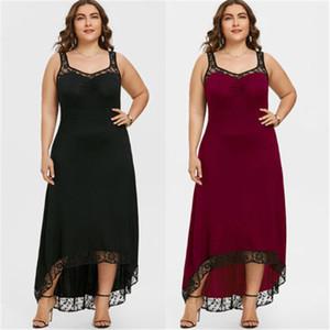 Artı Boyut Seksi Kadınlar Kolsuz Dantel Çiçek Patchwork Elbise Gevşek Nedensel Parti Uzun Maxi Elbise Tankı Asimetrik Hem Elbise Sıcak