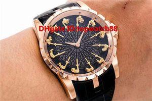 Top Excalibur Ritter Round Table Herren-Uhr Schweizer automatische 28800 VPH 18k Roségold Saphirschwarz-Emaille-Zifferblatt stürzte Ornament-Skala