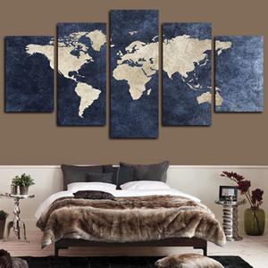 5 pannelli su tela di arte della parete Abstract Blue World Map Immagine stampa su tela pittura a olio moderna giclée Opera della decorazione della parete