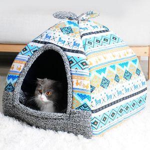 Hot Fleece Soft Pet Yurt Home Cama para perros Puppy Dog Kennel Pet Bed House para gatos Pequeños animales Casa con colchoneta Chihuahua