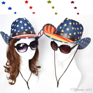 Diseño Sombreros de sol para mujeres Vaquero del oeste Jazz ecuestre Caps de ala ancha para la playa al aire libre de la bandera americana de impresión Sombrero ZZ 23hr