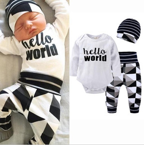 Infant Newborn Baby Girl Boy Clothing Long Sleeve Romper Pants Hat 3pcs Autumn Outfit Set Clothes Baby Girls 0-24M