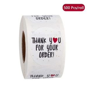 500 Pcs roll Round Thank You for Your Order Heart Sticker Handmade Seal Labels