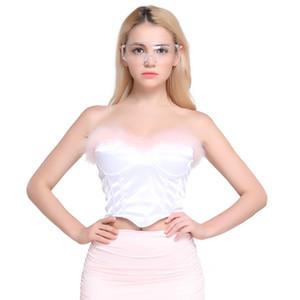 2019 primavera nova Sexy Contraste cor Satin Corset Lumbar Tubo top Mulheres baile Dentro do ba ...