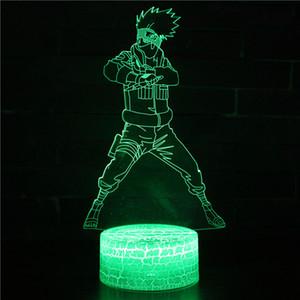 Naruto 3D LED ضوء الليل للطفل فتاة ، 3D الوهم البصري مصباح ضوء الليل لغرفة النوم مصابيح مع التحكم عن بعد 16 اللون تعمل باللمس USB