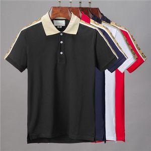 2020 nuevos Mens del diseño de polo de la marca de moda camisetas Europa París remiendo principales polos de lujo del bordado del algodón ropa casual Tee