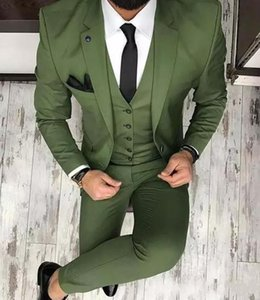 Olive Green Mens Suits For Groom Tuxedos 2020 Notched Lapel Slim Fit Blazer Three Pieces (Jacket Pants Vest)Man Tailor Made Clothing AL6487
