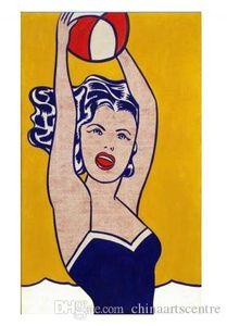 Va .. Рой Лихтенштейн Девушка с Шаровой Высокое качество расписанную Аннотация Pop Art Картина маслом на холсте стены искусства для дома и офиса Декор G130