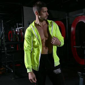 Para hombre de las capas de deportes Entrenamiento Ejercicio chaquetas de manga larga con capucha de la chaqueta a prueba de viento de vestir exteriores gimnasia de hombres adelgazan Coats