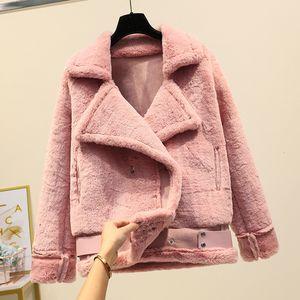 Dormitorio Coat coreano peluche cappotto di pelliccia di velluto con revers Spesso la tosatura delle pecore Giacche Rabbit Fur Coat imita coniglio Donne Warm Parkas T191101