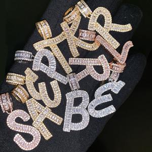 A-Z Baguette Iniciais Carta Pingente de Colar com 24 polegadas Corda Cadeia de Prata de Ouro Zirconia Homens Hip Hop Colar de Jóias