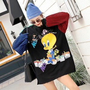 Women Spring New Contrast Color Blocked Hoodies Cartoon Patchwork Sweatshirts Plus Size Casual Loose Long Pullovers Tops