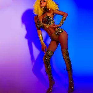 Jazz Dance Costume Femme Discothèque Bar Pole Dance Performance Vêtements DJ DS Dancer Outfit Sexy Snake Imprimer Bikini Costume DL6033