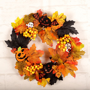 Halloween Party Decoration Maple Leaf Wreath Simulazione Garland Hanging Finestra di visualizzazione decorazione zucca di Halloween del cranio Corona DBC VT0846