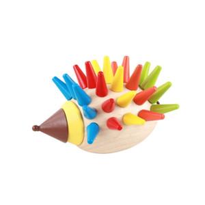 Montessori çocuk manyetik renkli kirpi aydınlanma DIY yapı taşları erken çocukluk eğitim Ahşap oyuncaklar hediye