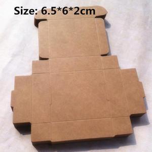 100pcs / lot 6.5 * 6 * 2cm Boîtes en papier kraft vierge artisant Anneaux oreilles cadeau Boîtes de rangement Chocolat Bonbons Paquet Avions Boîte