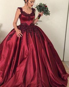 Modesto Vino Rosso Abiti De Quinceanera Abiti Piazza Collo Backless Corsetto Applique Pizzo Satin Ruffato Ball Gown Prom Sweet 16 Abito