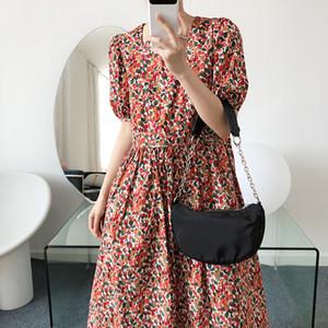 Vintage Red Square Collar Kirschdruck-Kleid Frauen 2020 Mode Sommer druckte PUFFÄRMELN hohe Taillen-A Line Damen Kleider