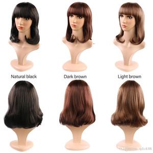 2019 модный темно-коричневый светло-коричневый натуральный черный цвет средней длины парики для стрижки Rinka для женщин ежедневного использования