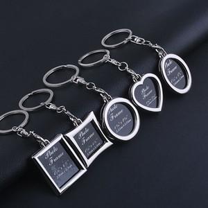 6 modèles cadre photo porte-clefs alliage photo amant locket porte-clés porte-clés pendentifs pomme coeur pour les femmes des hommes cadeau d'anniversaire