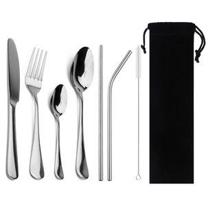 8-ПК Черный Посуда с металлическим Стро из нержавеющей стали Красочные Посуда Стейк нож Вилка Чайная ложка ужин Набор столовых приборов