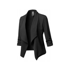 Autunno donne casuali giacca cappotto sottile manica lunga chaqueta mujer pieghe Solid selvatica piccola giacca Plus Size feminino