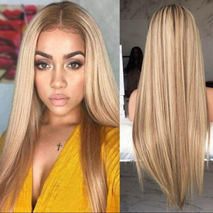 Women Long Straight Wig Mix Color Golden Brown Central Parting Wig Breathable Rose Net Machine Made Synthetic Hair Fiber Wig