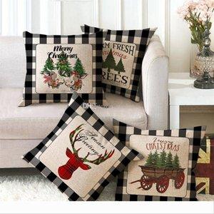 Britischer Weihnachtskissenbezug Abdeckung Plaid Frohe Weihnachten Wurfkissenbezug für Weihnachtsbaum Rentier Start Auto Sofa Dekoration WX9-1678